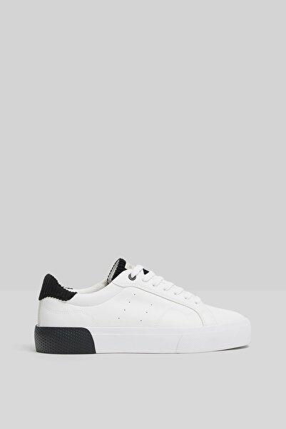 Bershka Erkek Beyaz Fitilli Kadife Detaylı Sneaker