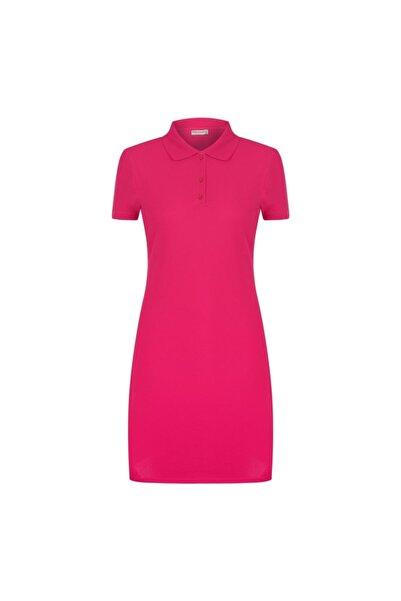 Mudo Kadın Pembe Polo Yaka Pamuklu Mini Elbise 1217603