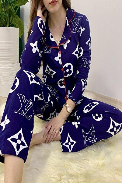 Sude Lacivert Louis Vuitton Desenli Pijama Takımı