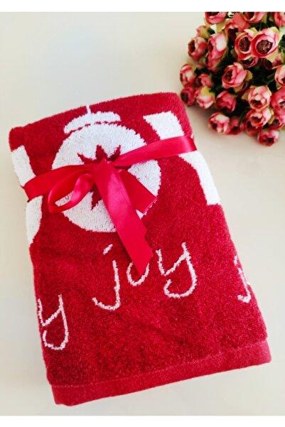DC Ez Home Kırmızı Beyaz Yazılı %100 Cotton 2'li Havlu Seti 50*80 cm