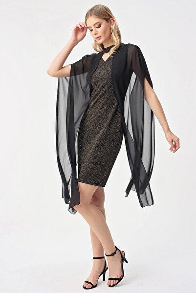 By Saygı Kadın Askılı Simli Şifon Pelerinli Abiye Elbise Gold