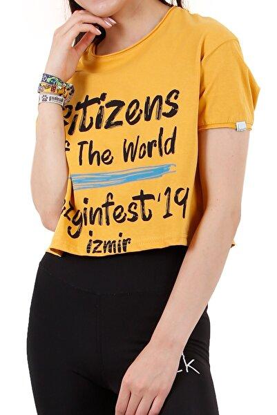 4EST Kadın Sarı Kısa T-Shirt