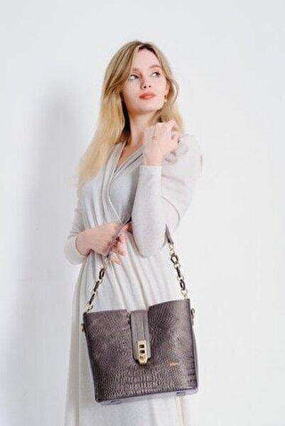 Kadın Gümüş Kroko Desenli Kilit Detay Omuz Çantası J02104