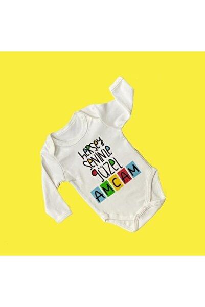 Elif Bebe Bebek Beyaz Her şey Seninle Güzel Amcam Yazılı Body