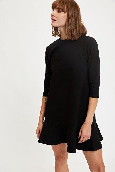 DeFacto Basic Yarım Kollu Volanlı Yazlık Mini Elbise