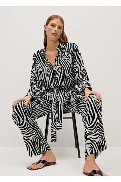 MANGO Woman Kadın Siyah Zebra Desenli Pantolon 77064429