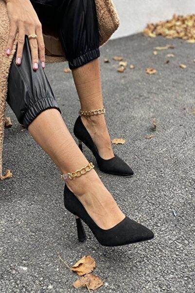 İnan Ayakkabı Bayan Sivri Burun Bilek Zincir Detaylı Topuklu Ayakkabı