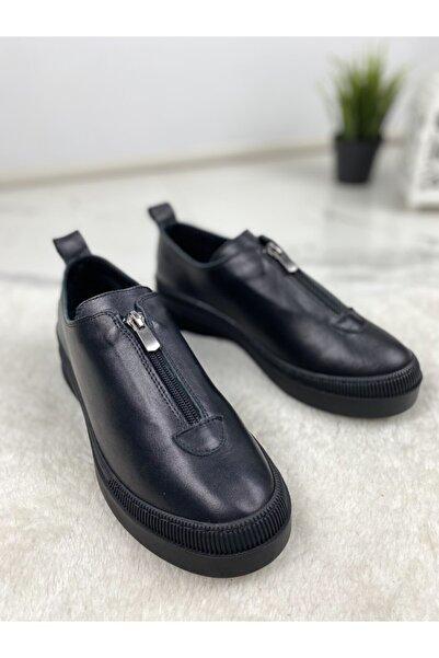 Mammamia Kadın Siyah Hakiki Deri Ayakkabı