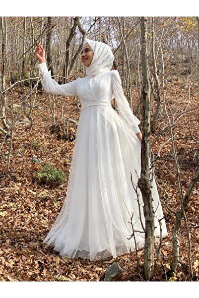 Loreen Kadın Beyaz Tesettür Tül Nikah Abiyesi