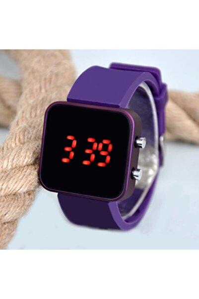 WatchArt Mor Renk Kasa Kırmızı Rakamlı Silikon Kordonlu Genç Kız Kadın Kol Saati Su-163