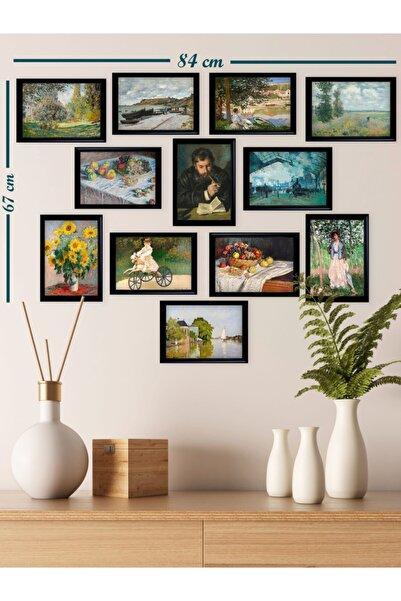 Ho27 12'li Claude Monet Çizimleri Tablo Seti (siyah Çerçeveli Görünümlü)