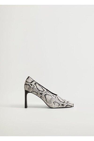 MANGO Woman Kadın Haki Renk Suni Deri Pumps Topuklu Ayakkabı 77035135