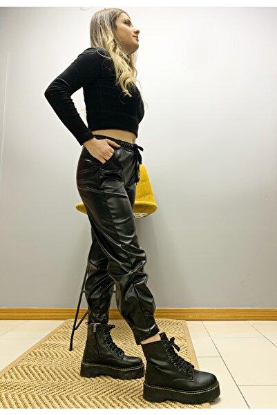 BENDEE BUTİK Kadın Siyah Paça Pileli Deri Pantolon