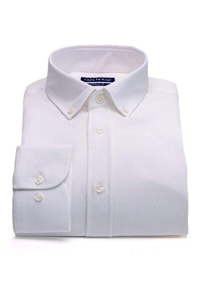 GIZA HOUSE Madison Erkek Beyaz Desenli Yaka Düğmeli Casual Fit Lüks Pamuklu Gömlek