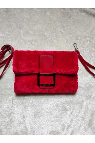 UCCELLO Kadın Kırmızı Peluş Portföy Askılı Çanta