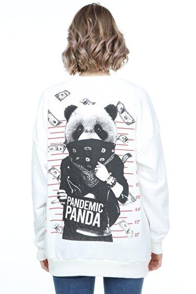 Millionaire Kadın Ekru Pandemic Panda Baskılı Oversize Sweatshirt