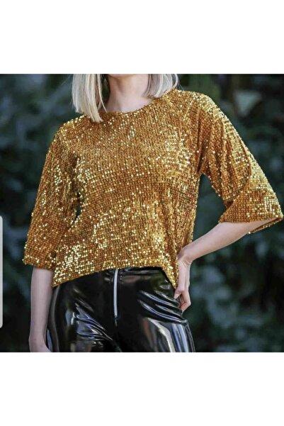 MODAMETRE Kadın Gold Pullu Bluz