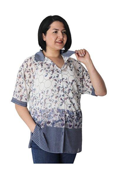 Günay Giyim Kadın Beyaz Desenli Gömlek