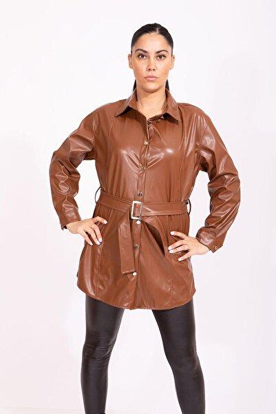 Pamir Home Kadın Kahverengi Klasik Deri Gömlek