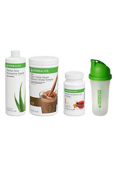 Herbalife Başlangıç Seti-7 1 Çikolatalı Shake + Şeftali 50gr Çay + Aloe Konsantre Içecek + Shaker