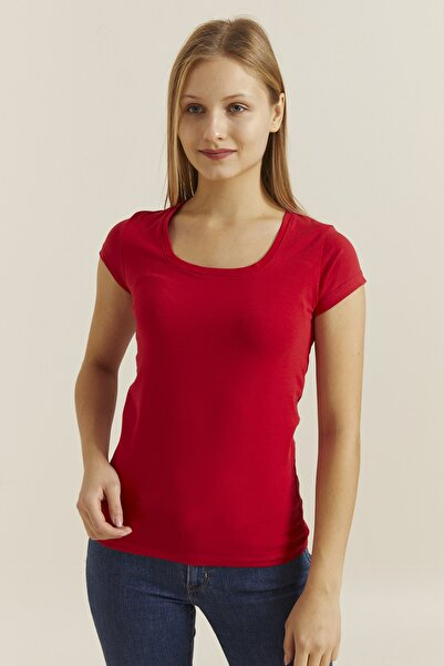 DYNAMO Kadın Kırmızı Kare Yaka Likralı T-shirt 19060