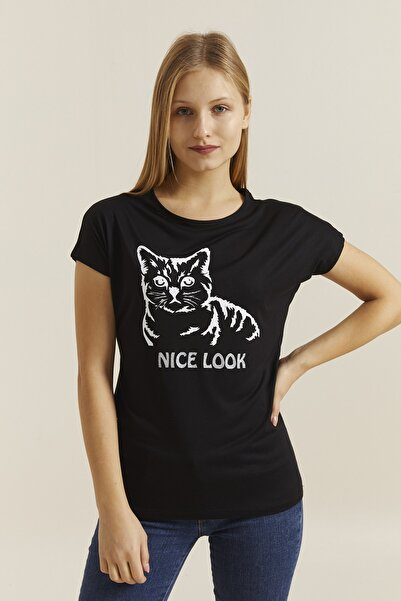 DYNAMO Kadın Siyah Baskılı T-shirt 19319