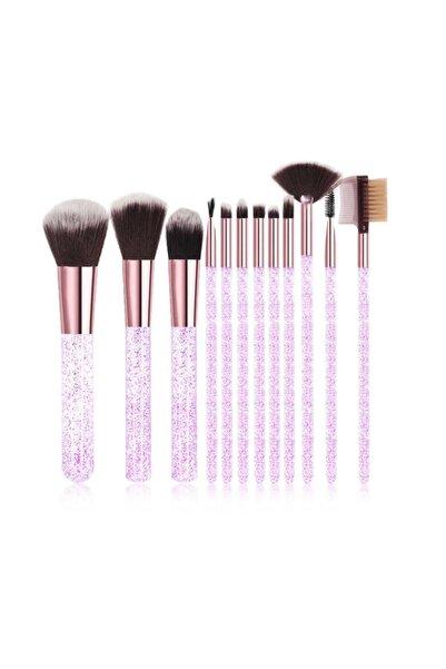 Makeuptime Simli Silindir Fırça Seti 12 Fırça Simli Şık Kutuda