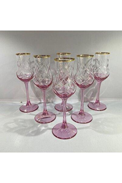 TRMADE Pembe Renk Ayaklı Meşrubat Bardağ 6 lı