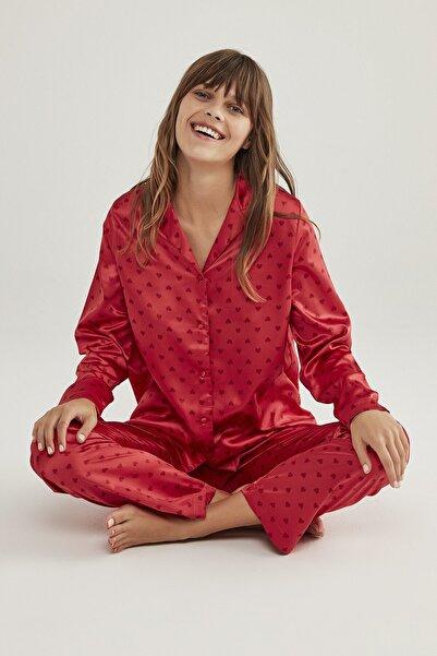 Penti Saten Hearts Pijama Takımı