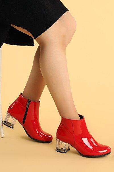 Ayakland Kadın Kırmızı Şeffaf Rugan  Topuk Termo Taban Bot Ayakkabı 520  6 cm