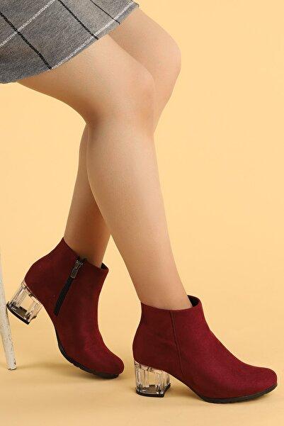 Ayakland Kadın Bordo Şeffaf Rugan  Topuk Termo Taban Bot Ayakkabı 6 cm  520