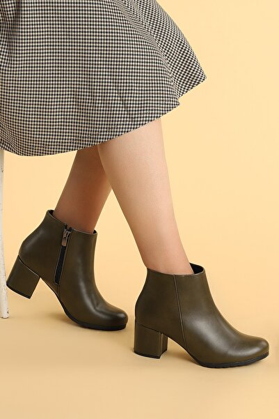 Ayakland Kadın Haki Şeffaf Rugan  Topuk Termo Taban Bot Ayakkabı 6 cm  520