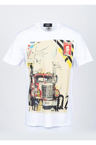 DSquared2 Erkek Beyaz Sıfır Yaka Tshirt