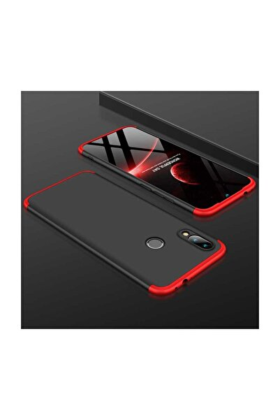 cepsesuar Samsung Galaxy M20 Kılıf 360 Tam Koruma 3 Parça Ays Kapak Siyah - Kırmızı