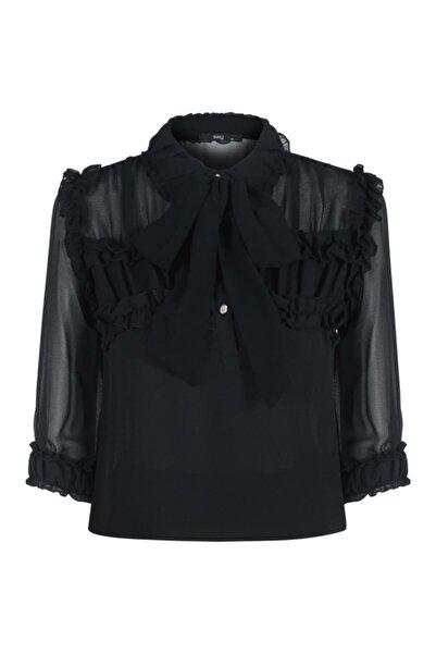 Say Kadın Siyah Robası Ve Manşeti Büzgülü Şifon Bluz