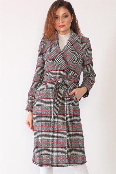Dewberry Kadın Siyah Bordo Palto