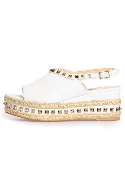 Flower Kadın Beyaz Deri Troklu Dolgu Sandalet