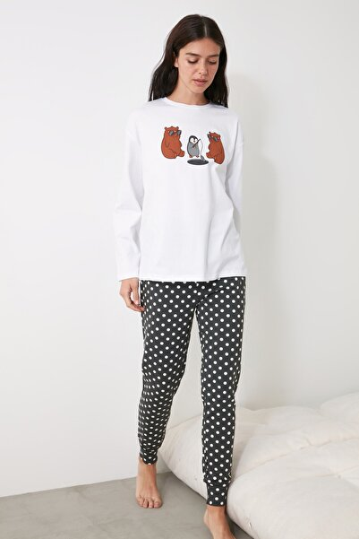 TRENDYOLMİLLA Antrasit Baskılı Örme Pijama Takımı THMAW21PT0246