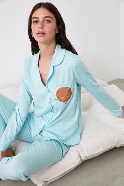 TRENDYOLMİLLA Mint Baskılı Örme Pijama Takımı THMAW21PT0303