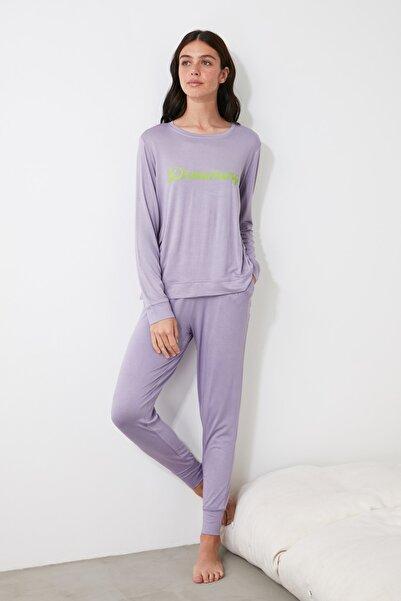 TRENDYOLMİLLA Lila Jogger Örme Pijama Takımı THMAW21PT0057
