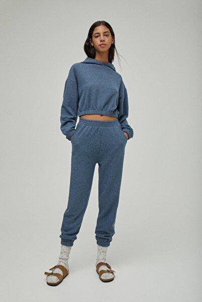 Pull & Bear Kadın Melanj Mavi Elastik Belli Jogging Fit Pantolon. 04676305