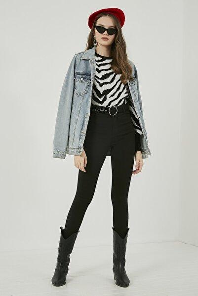 Sateen Kadın Siyah Dar Paça Streç Pantolon  STN911KPA101