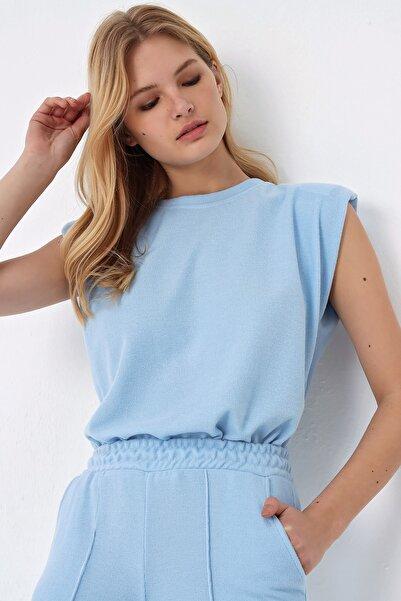 Trend Alaçatı Stili Kadın Mavi Vatkalı Selanik Örme Bluz ALC-X5229