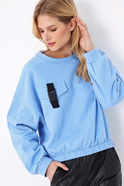 Trend Alaçatı Stili Kadın Mavi Beli Lastikli Sweatshırt ALC-X5240