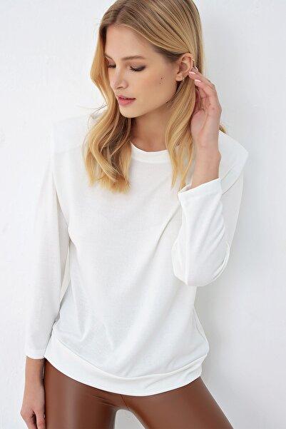 Trend Alaçatı Stili Kadın Ekru Uzun Kol Vatkalı Bluz ALC-020-032-MDS