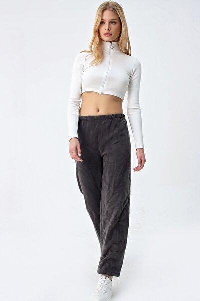 Trend Alaçatı Stili Kadın Antrasit Polar Eşofman Altı ALC-X5208