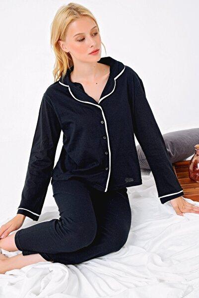 Trend Alaçatı Stili Kadın Siyah Gömlek Yaka Pijama Takım ALC-X4801
