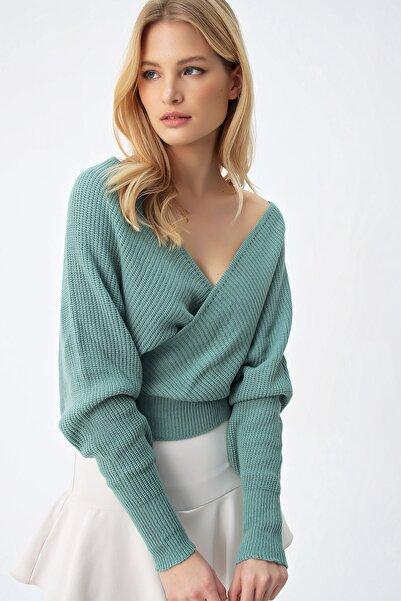 Trend Alaçatı Stili Kadın Çağla Yeşili Ön Arka V Yaka Kruvaze Kazak ALC-X5203