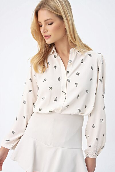 Trend Alaçatı Stili Kadın Ekru Prenses Kol Desenli Dokuma Gömlek ALC-X4469-RW1