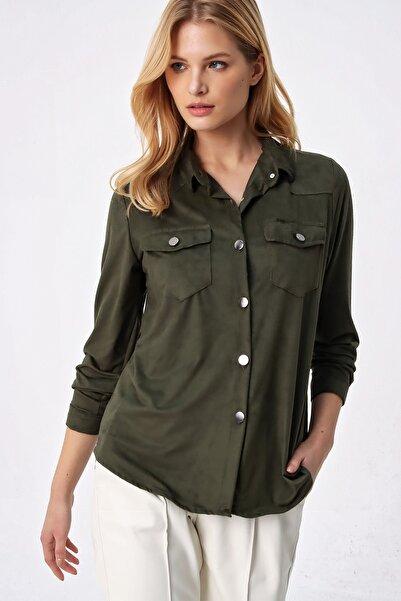 Trend Alaçatı Stili Kadın Haki Süet Premium Gömlek ALC-X5281